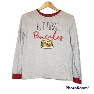 3 for $20 Boys But First Pancakes Top Long Sleeve T-Shirt 14 16 Gray Red